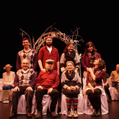 A Midwinter Night's Dream (2014). Chris Mastropietro, Peter Sevitt, Jesse Watts, Neil Naft, Gigi Inara, Ruth Miller, Hilary Roskey, Pamela Paris. Photo by Sam Godfrey.