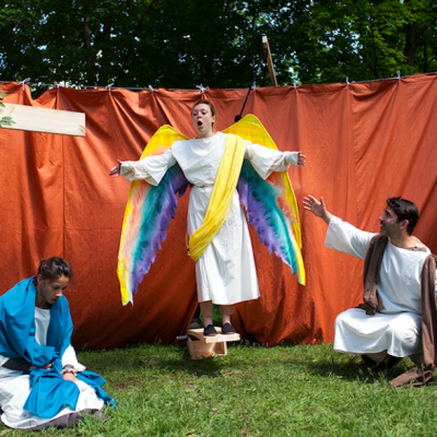 Passion Play (2013). Mayko Nguyen, Katherine Cullen, Thrasso Petras. Photo by Keith Barker.