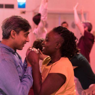 TomorrowLove™ (2016). Anand Rajaram, Oyin Olajedo, and the Ensemble. Photo by Neil Silcox.