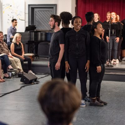 Accompanist/Conductor Adam Sakiyama, Movement Coach/Assistant Director Barbara Johnston, Performer Donna Garner, and Wexford Collegiate ensemble. Dr. Silver Live Rehearsal Series at The Luminato Festival June 2018. Photo by Dahlia Katz.
