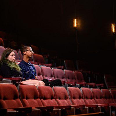 Amy Keating and Durae McFarlane. Photo by Dahlia Katz. Set and Lighting by Nick Blais. Costumes by Anahita Dehbonehie.