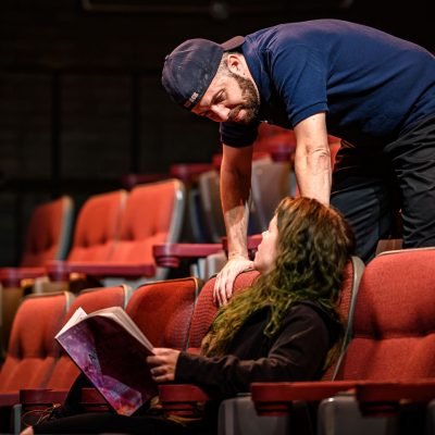 Colin Doyle and Amy Keating. Photo by Dahlia Katz. Set and Lighting by Nick Blais. Costumes by Anahita Dehbonehie.