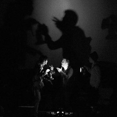 Mr. Burns (2015). Tracey Michailidis, Colin Doyle, Katherine Cullen. Photo by Neil Silcox.