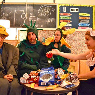 Mr. Marmalade (2012). Ishai Buchbinder, Jason Chinn, Katherine Cullen, Amy Keating. Photo by Shira Leuchter